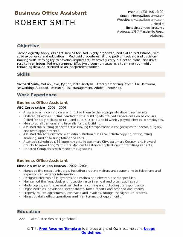 Business Office Assistant Resume Example