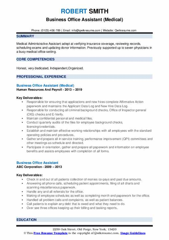 Business Office Assistant (Medical) Resume Template