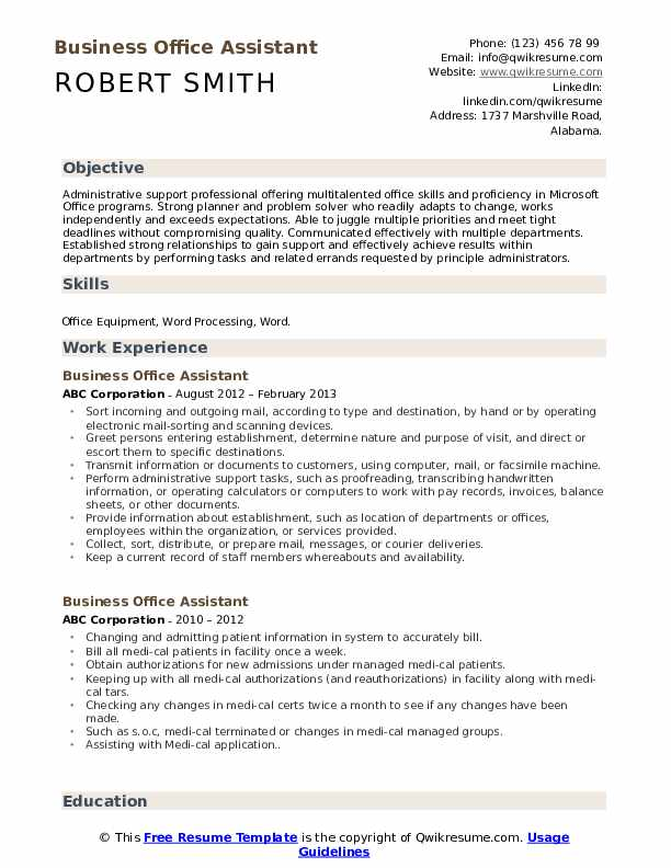 Business Office Assistant Resume Template
