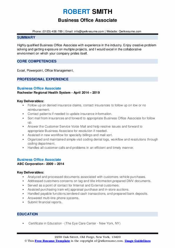 Business Office Associate Resume Sample