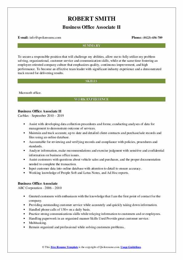 Business Office Associate II Resume Format