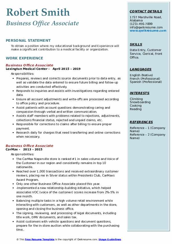 Business Office Associate Resume Format