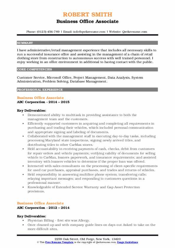 Business Office Associate Resume Model