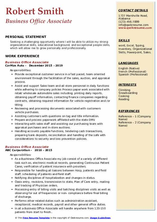 Business Office Associate Resume Template