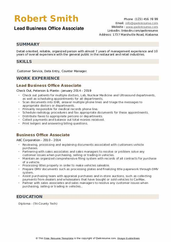 Lead Business Office Associate Resume Model