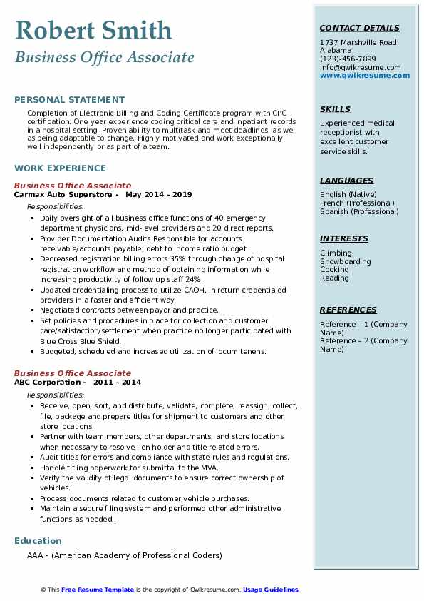 Business Office Associate Resume example
