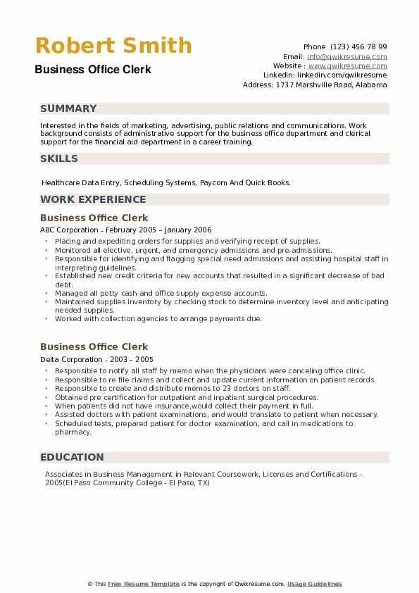 Business Office Clerk Resume example