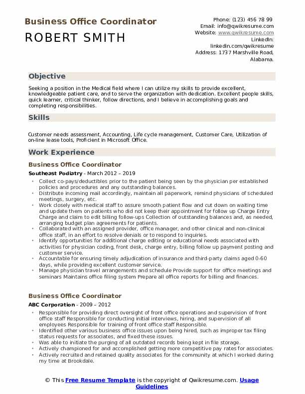Business Office Coordinator Resume Format