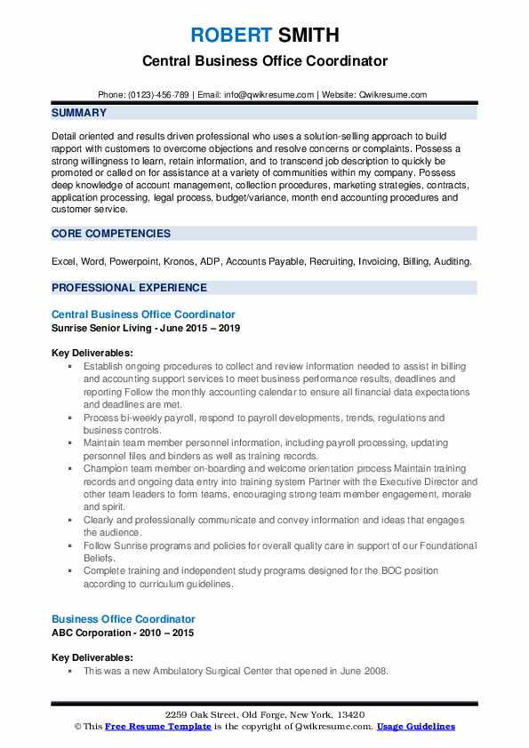 Central Business Office Coordinator Resume Model