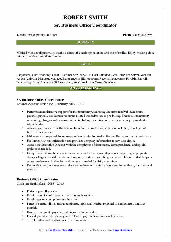 Sr. Business Office Coordinator Resume Template