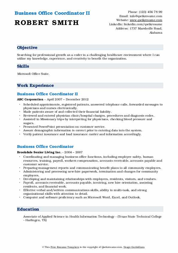 Business Office Coordinator II Resume Sample