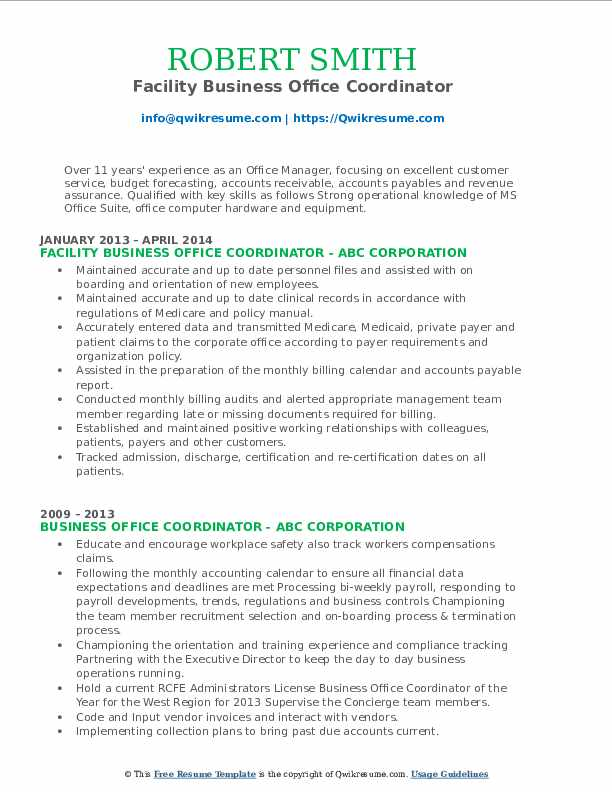 Facility Business Office Coordinator Resume Example