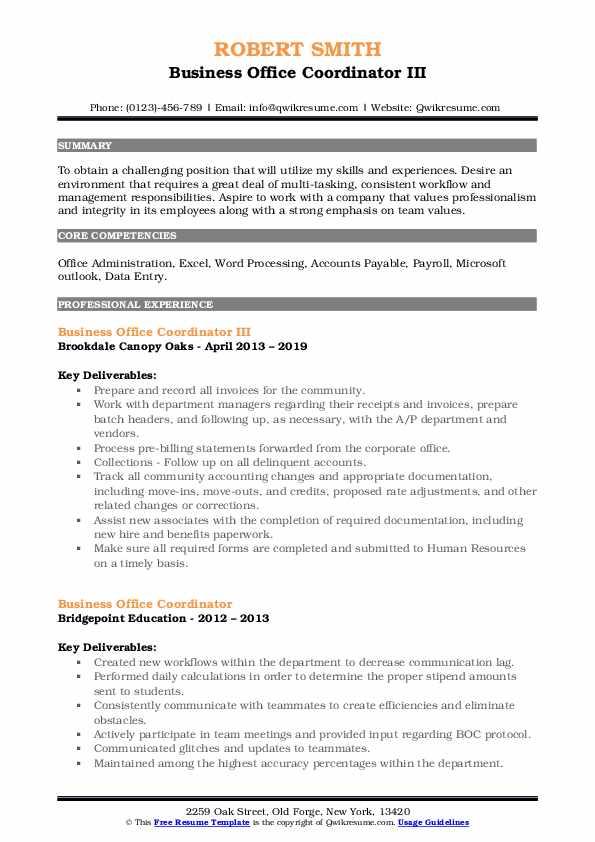 Business Office Coordinator III Resume Format