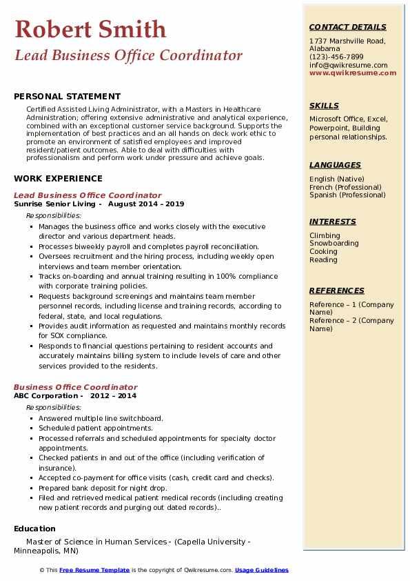 Lead Business Office Coordinator  Resume Model