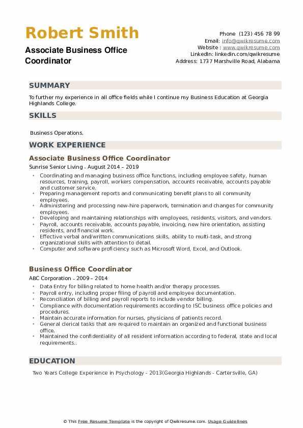 Associate Business Office Coordinator Resume Template
