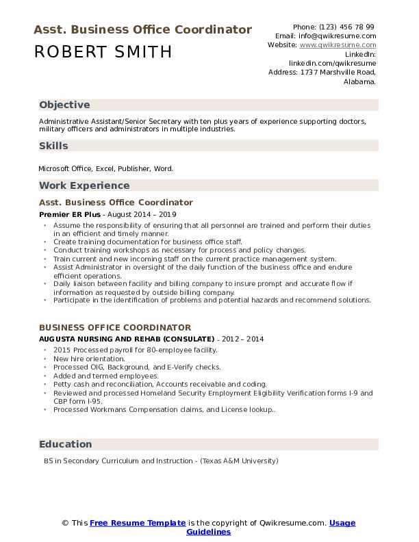 Asst. Business Office Coordinator Resume Example