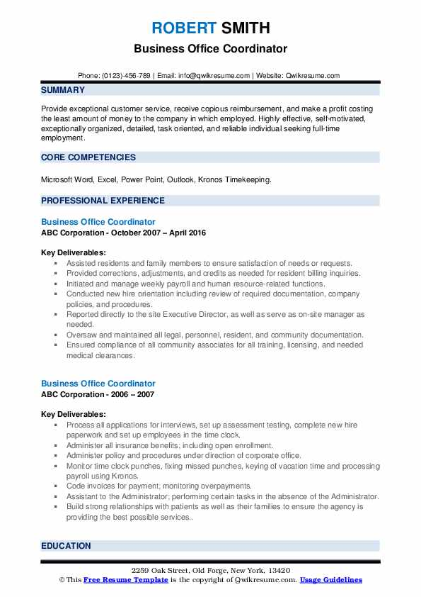 Business Office Coordinator Resume example