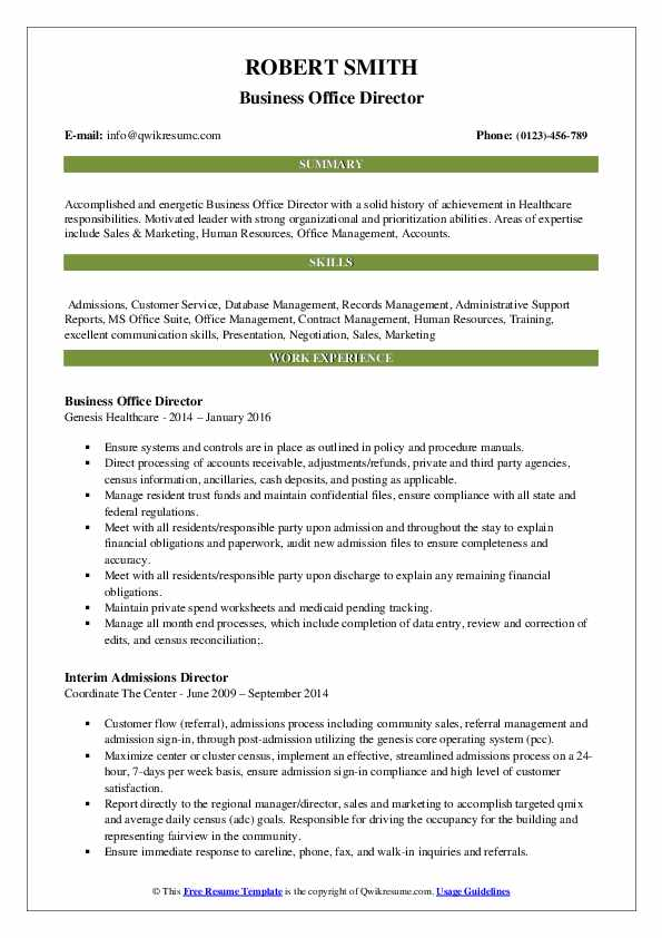 Business Office Director Resume Sample