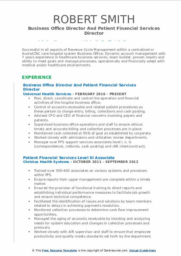 Business Office Director And Patient Financial Services Director Resume Model