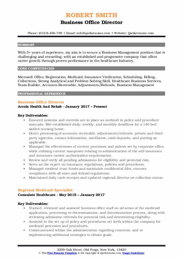 Business Office Director Resume Template