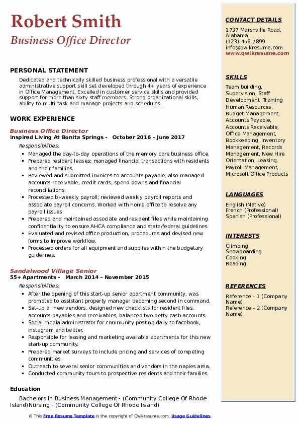 Business Office Director Resume Format