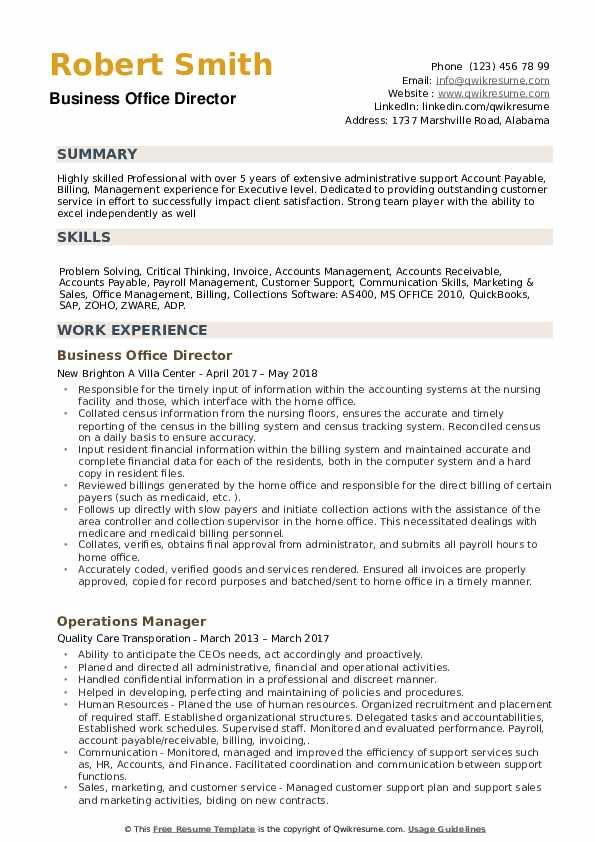 Business Office Director Resume example