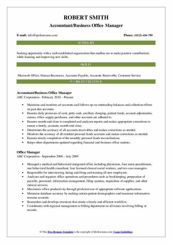 Accountant/Business Office Manager Resume Model
