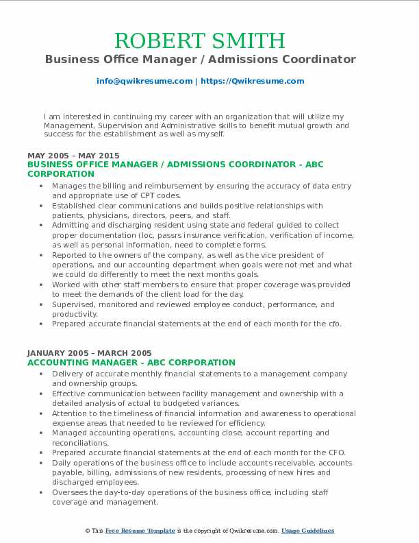 Business Office Manager Admissions Coordinator Resume Format