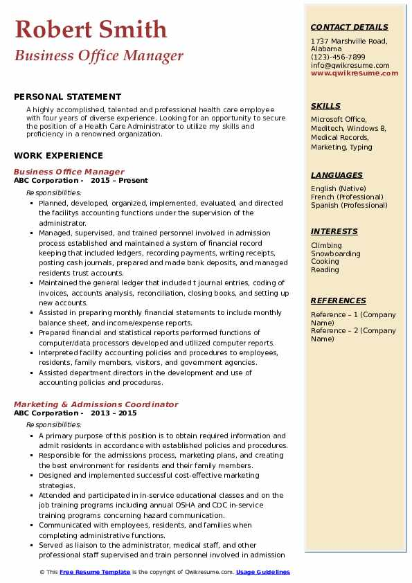 Business Office Manager Resume example