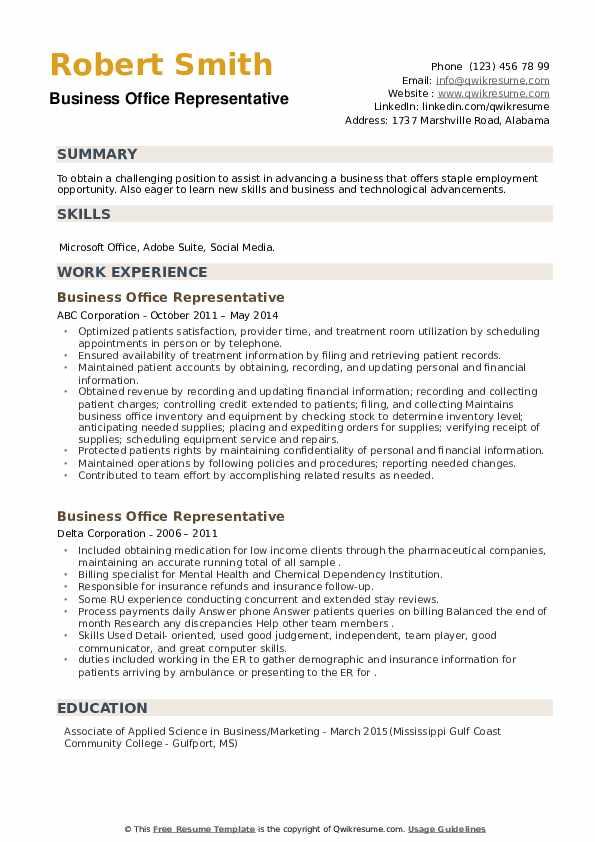 Business Office Representative Resume example