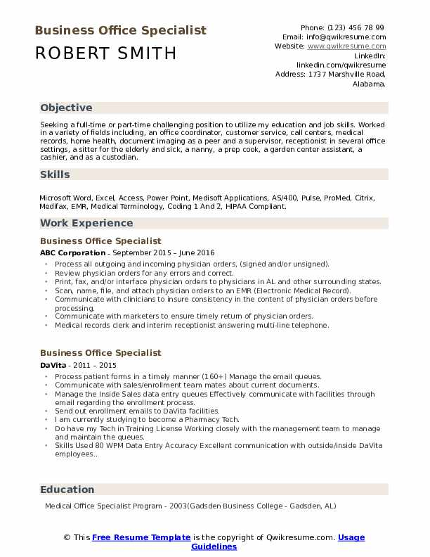 Business Office Specialist Resume Format