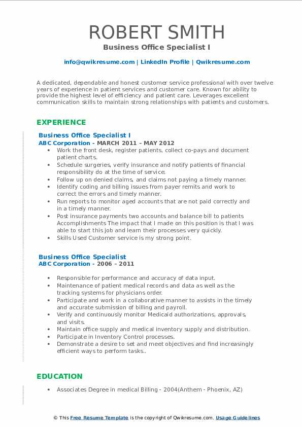 Business Office Specialist I Resume Format