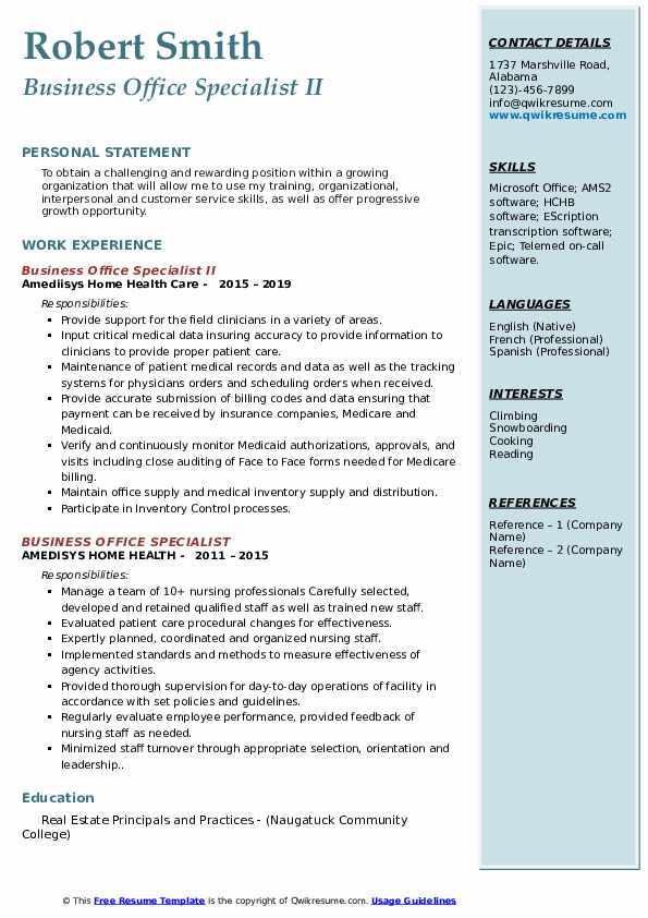 Business Office Specialist II Resume Model