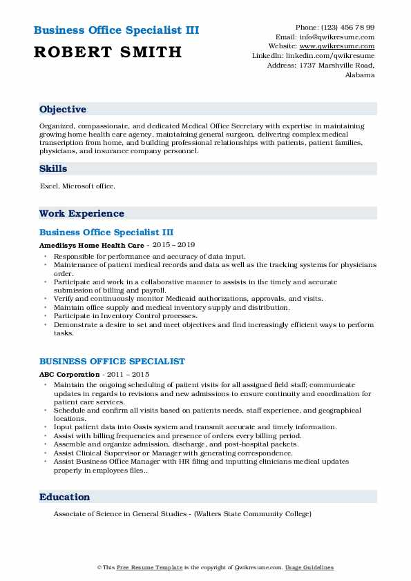 Business Office Specialist III Resume Sample