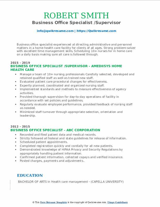 Business Office Specialist /Supervisor Resume Template