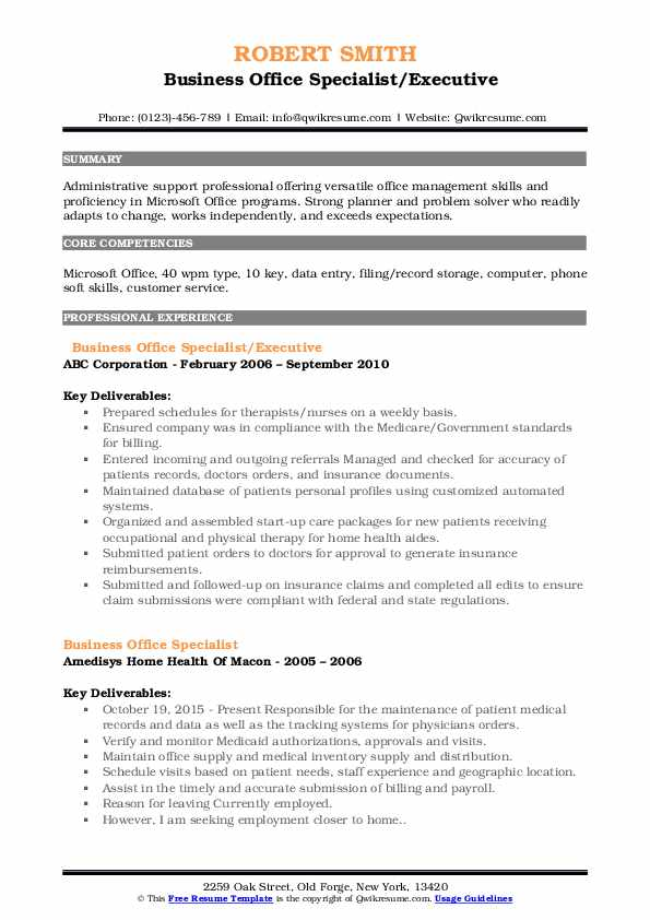 Business Office Specialist/Executive Resume Model
