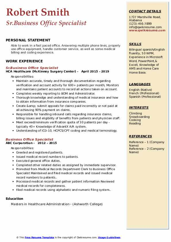 Sr.Business Office Specialist Resume Sample