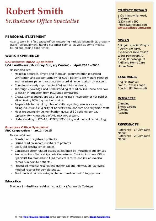 Sr.Business Office Specialist Resume Model