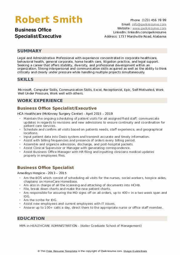 Business Office Specialist/Executive Resume Sample