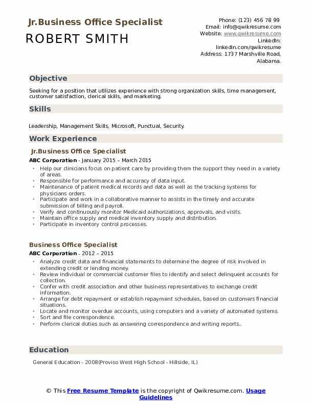 Jr.Business Office Specialist Resume Sample
