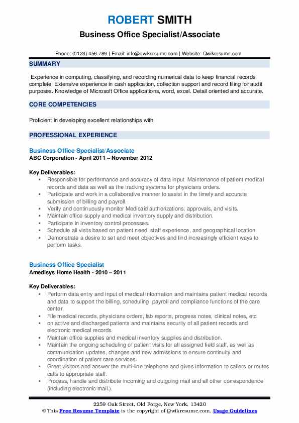Business Office Specialist Resume example
