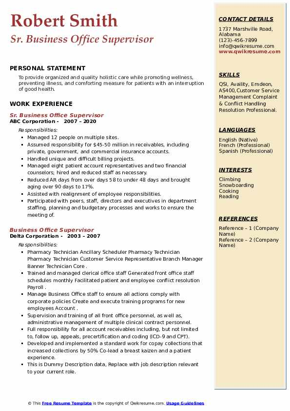 Business Office Supervisor Resume example