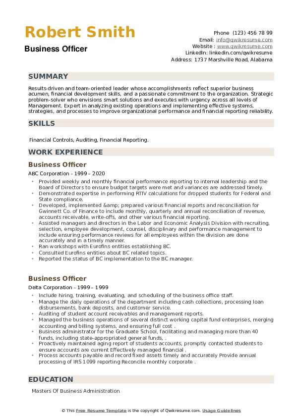 Business Officer Resume example