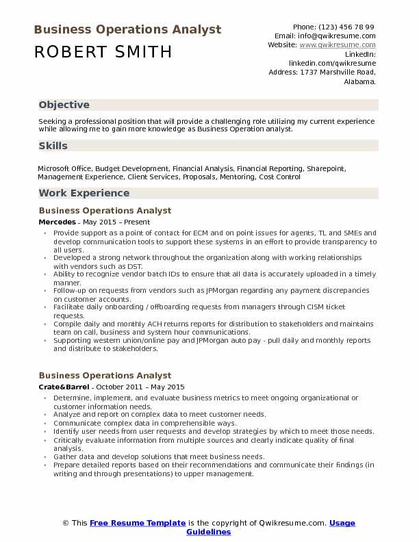 Business Operations Analyst  Resume Example