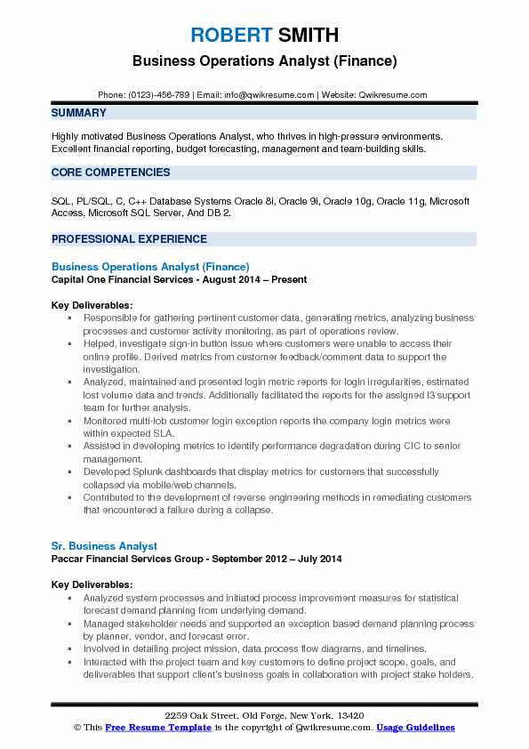 Business Operations Analyst Finance Resume Example