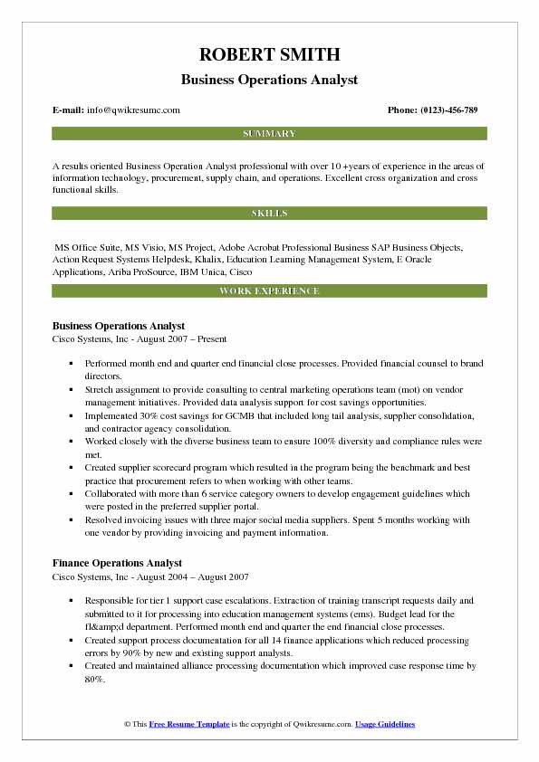 Business Operations Analyst Resume Sample