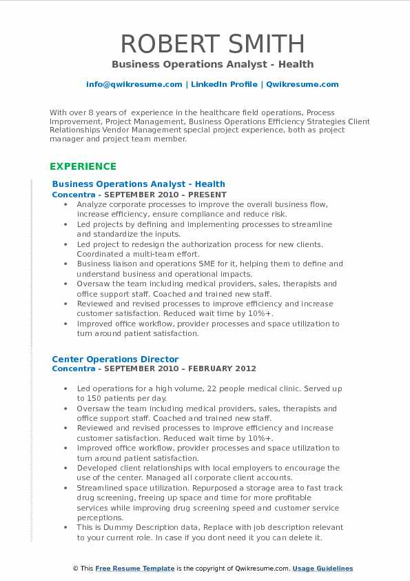 Business Operations Analyst - Health Resume Example