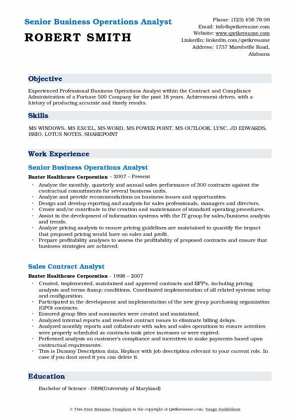 Senior Business Operations Analyst Resume Model