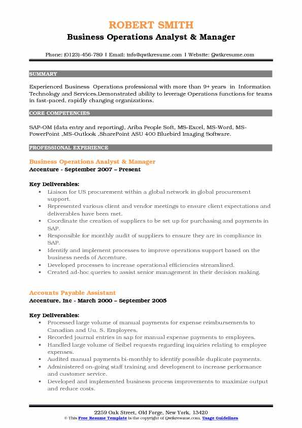 Business Operations Analyst & Manager Resume Format