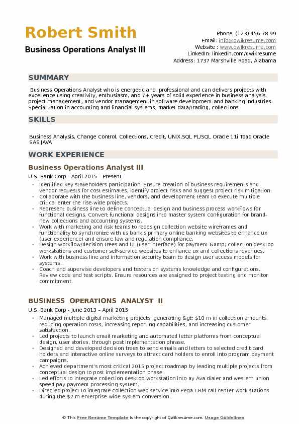 Business Operations Analyst III Resume Sample